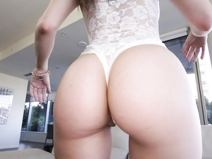 Lace Bodysuit Girl Sucks And Screws His Massive Dick