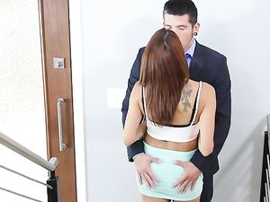 Milf In A Slutty Miniskirt Bent Over And Fucked